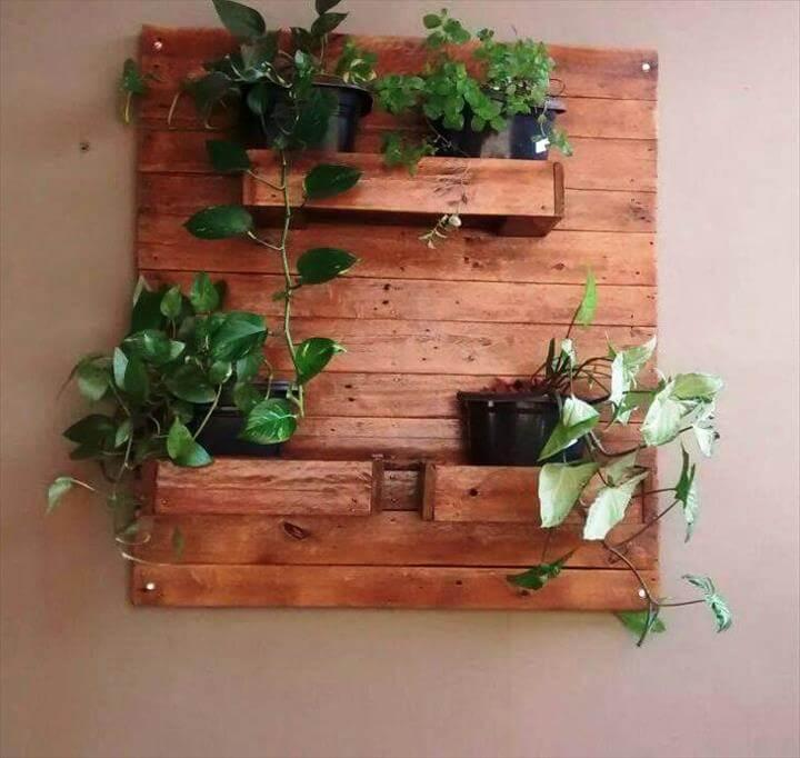 repurposed pallet wall hanging pot organizer