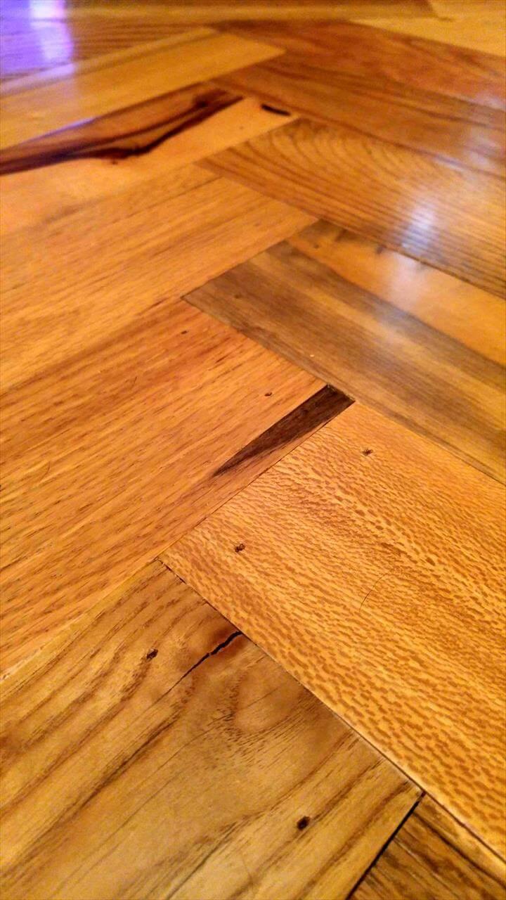 self-installed chevron pallet accent wood floor