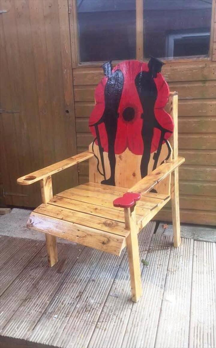 lasting wooden pallet chair with artistic back