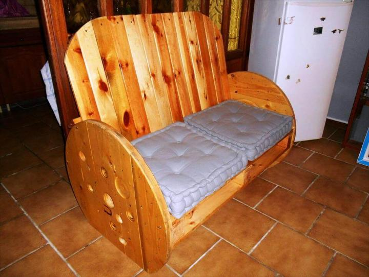 handcrafted pallet and spool double seater bench