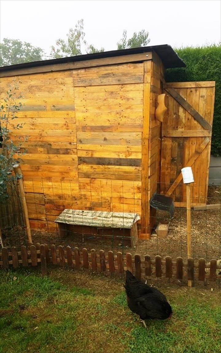 hand-built pallet hen house