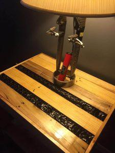 DIY bicycle tire and pallet stand for bicycle lamp