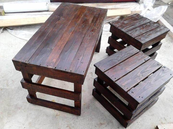 diy pallet coffee table and side table set