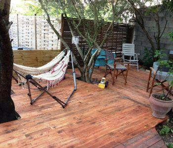 upcycled wooden pallet terrace