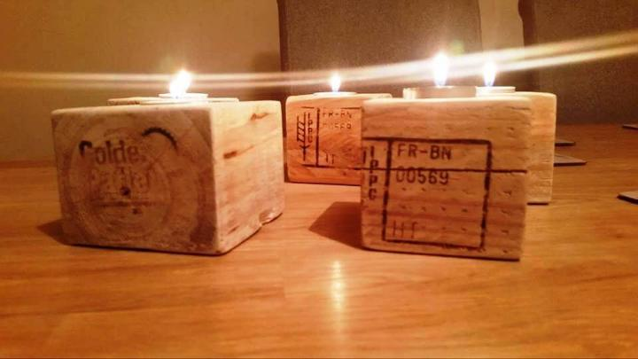 pallet cubes into tea lights