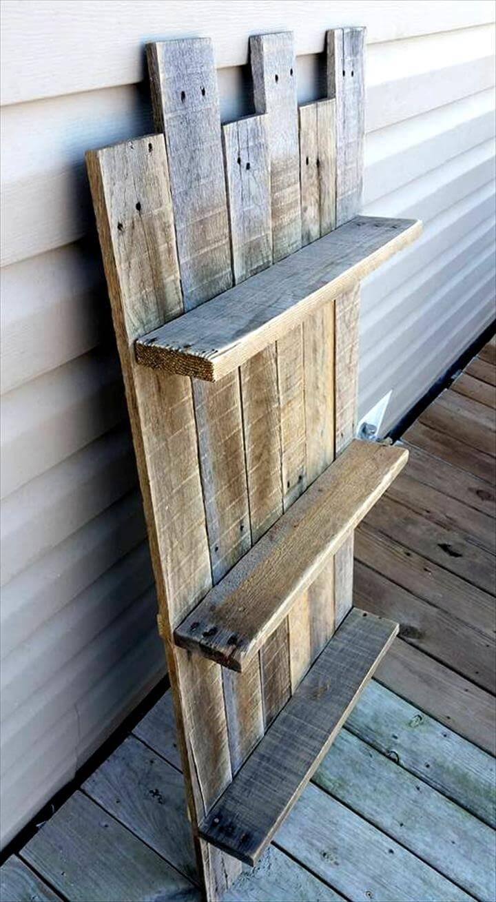 low-cost yet sturdy wooden pallet vertical shelves