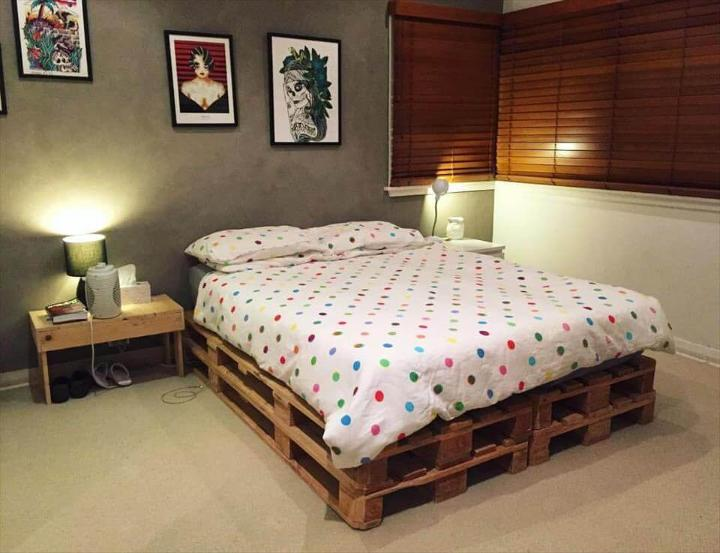 stacked pallet bed with white mattress