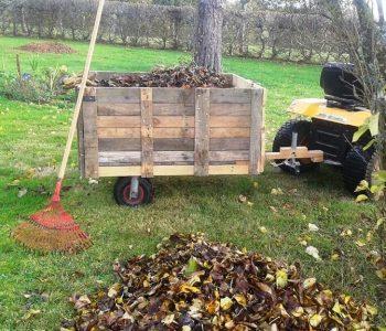 handcrafted pallet garden trash cart