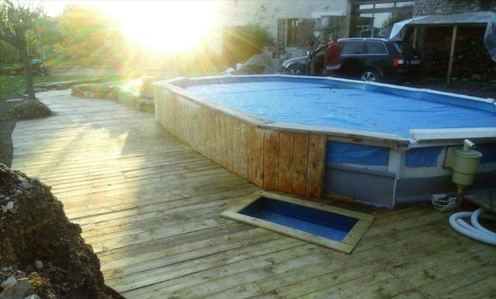self-renovated pallet swimming pool