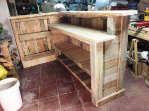handcrafted wooden pallet L-shape bar