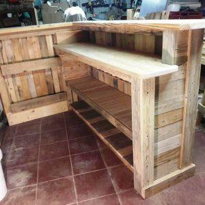 handcrafted wooden pallet L-shape bar