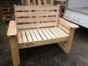 hand-built wooden pallet bench