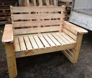 hand-built wooden pallet bench