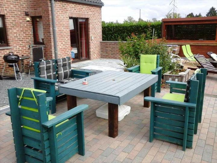 sturdy pallet outdoor chairs and table set