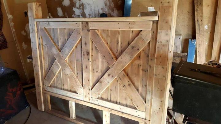 reclaimed pallet robust wooden bed with headboard and footboard