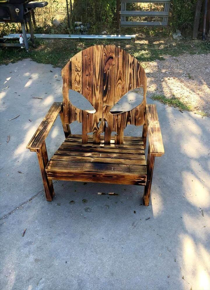 repurposed pallet Adirondack chair with skull backrest