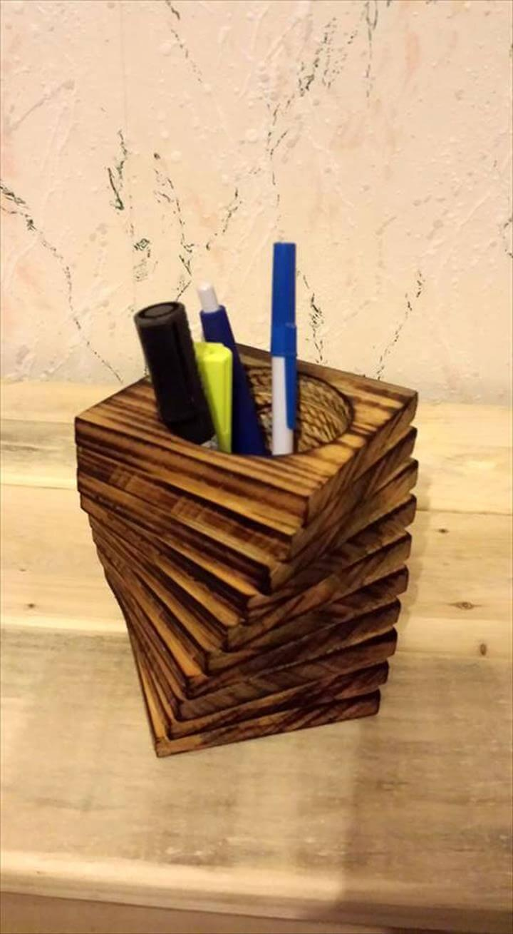 recycled chopped pallet pencil holder
