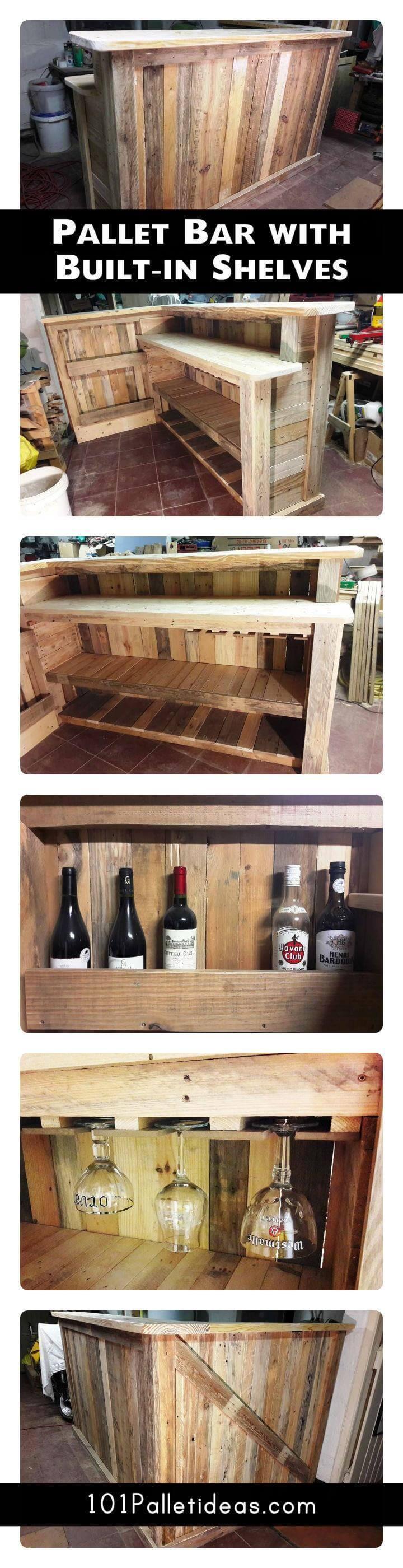 Diy Pallet Bar With Custom Built In Shelves Easy Pallet