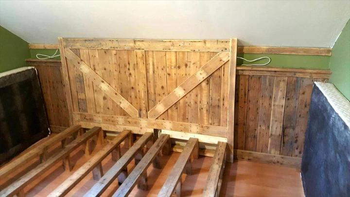 upcycled pallet bed with solid wooden headboard and footboard