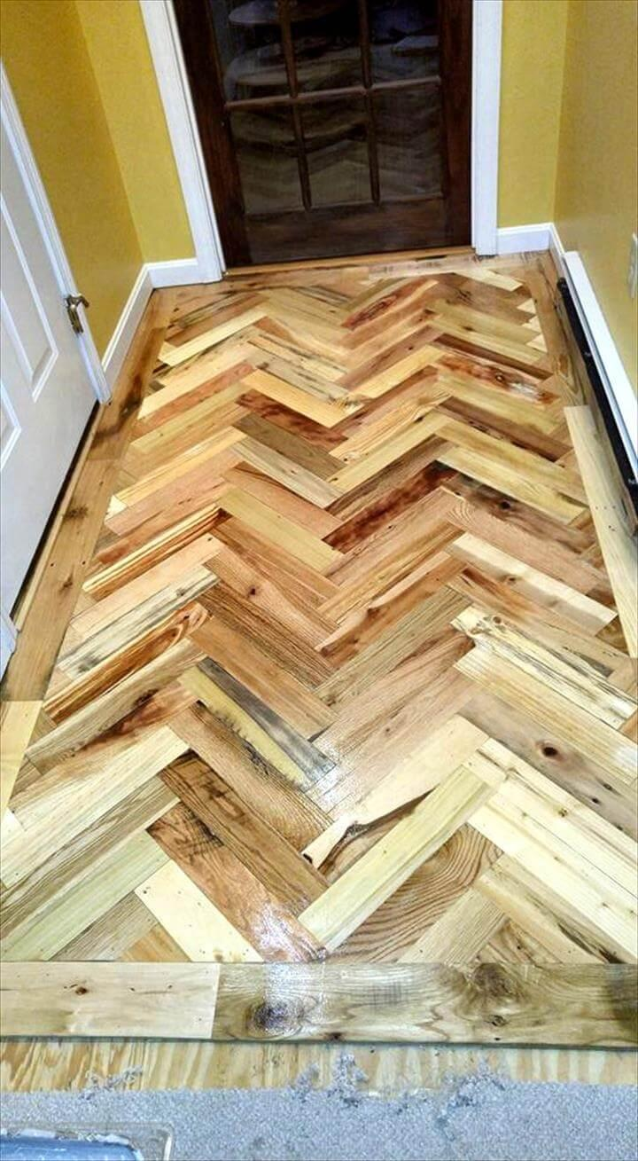 recycled pallet chevron entryway flooring