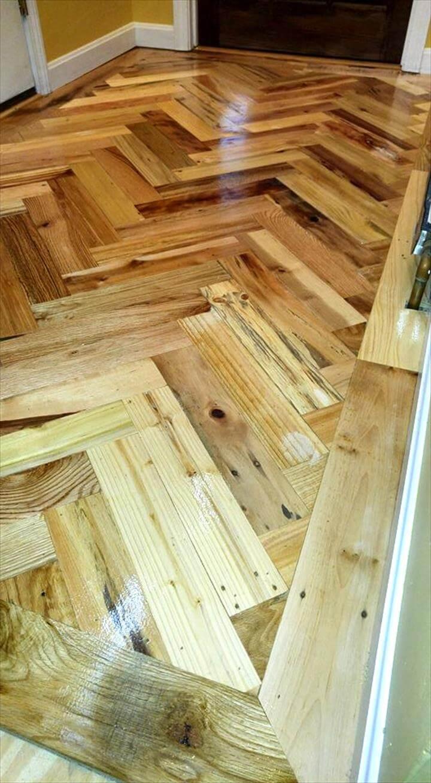 DIY pallet entryway chevron wood flooring