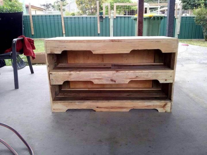 wooden pallet TV console or media stand