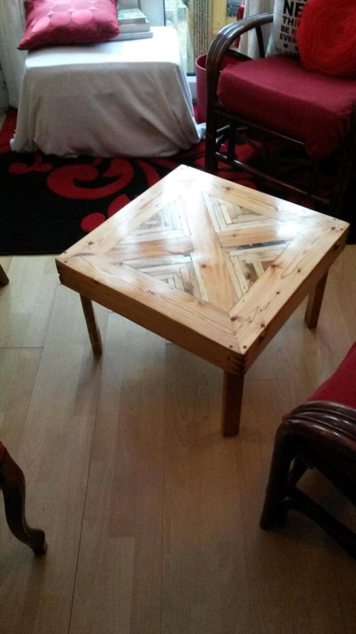 recycled pallet chevron square top coffee table