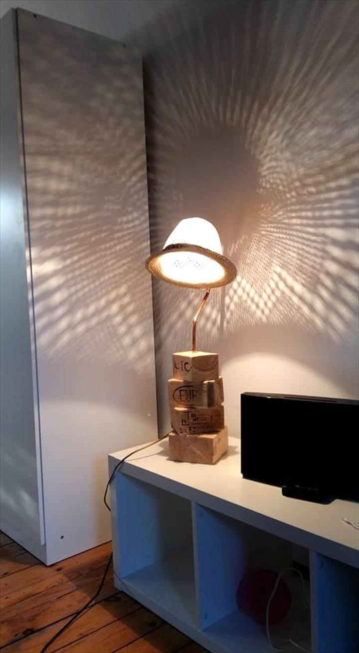 chopped pallet and old hat table lamp