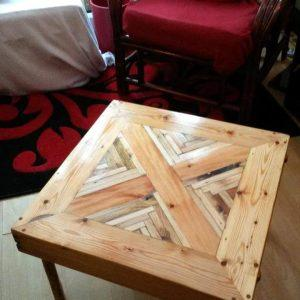 self-made wooden pallet square coffee table
