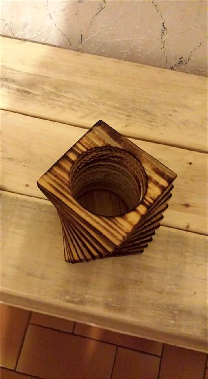 repurposed chopped pallet pencil holder
