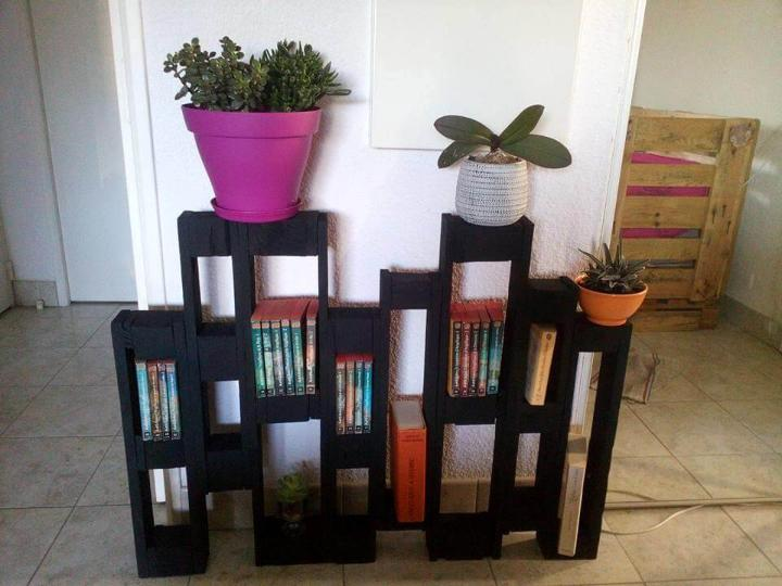 hand-built wooden pallet bookshelf and pot organizer
