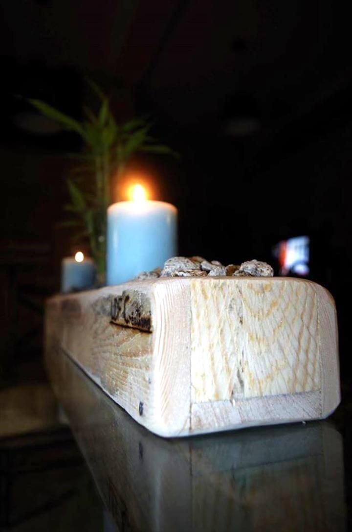 low-cost wooden pallet candle holder