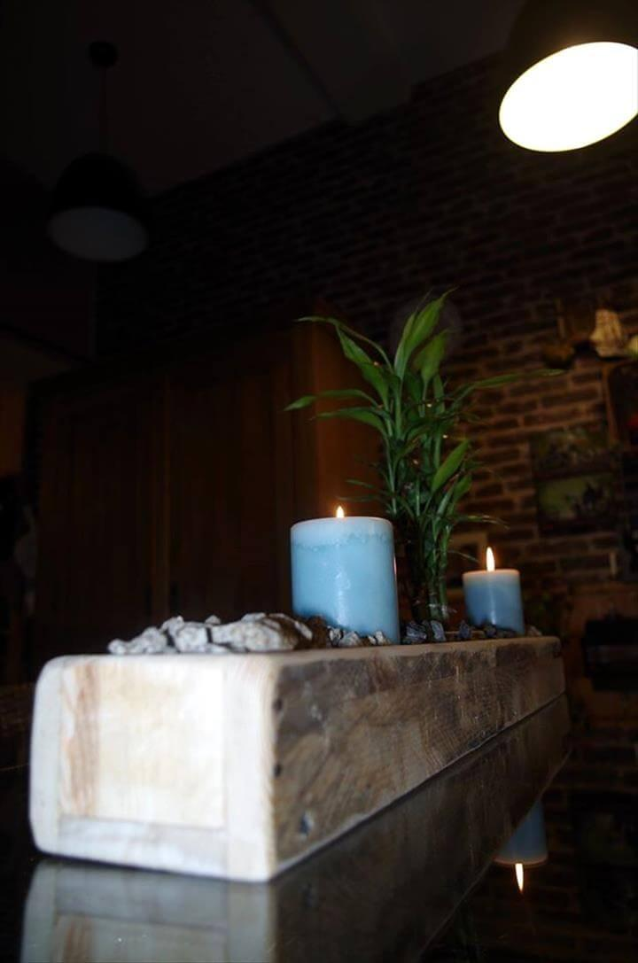 wooden pallet candle holder