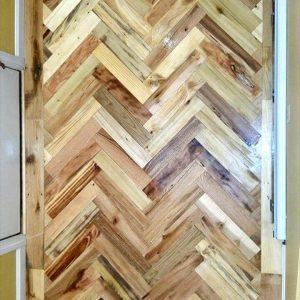 double chevron pallet entryway flooring