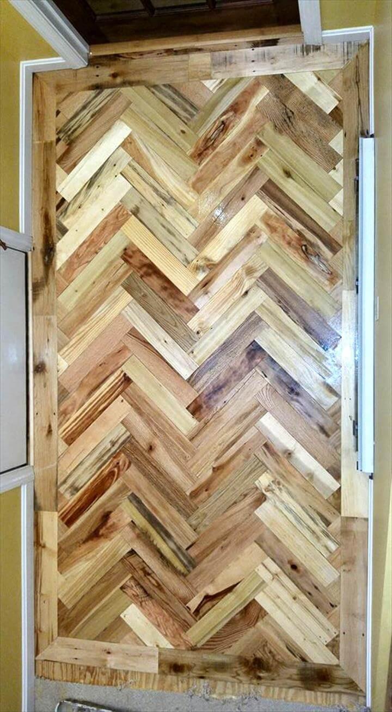 double chevron pallet entryway flooring