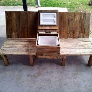 self-installed pallet double chair patio bench with midside beverage cooler