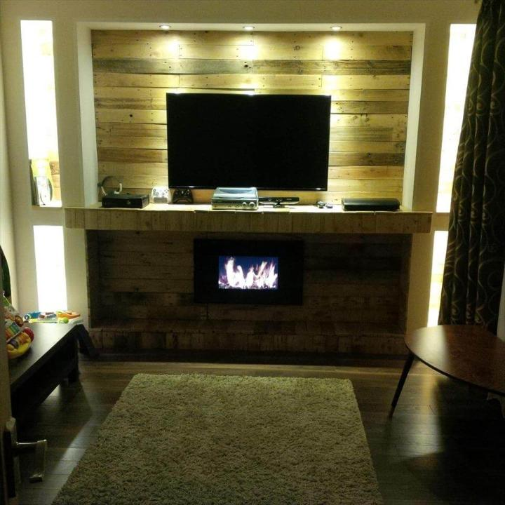 recycled pallet fireplace mantel media wall