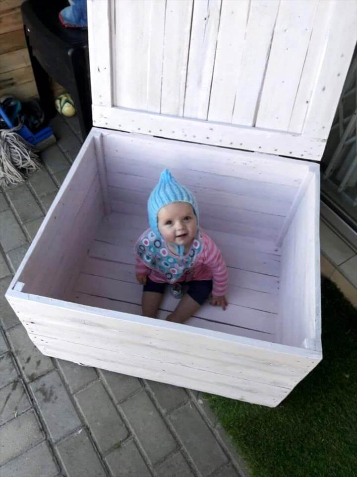 repurposed wooden pallet kids toy box