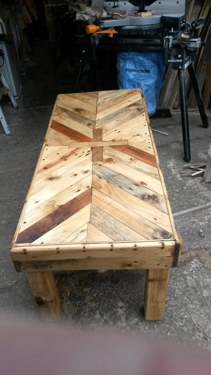 long chevron coffee table made of pallets