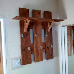 handmade wooden pallet shelf and coat rack