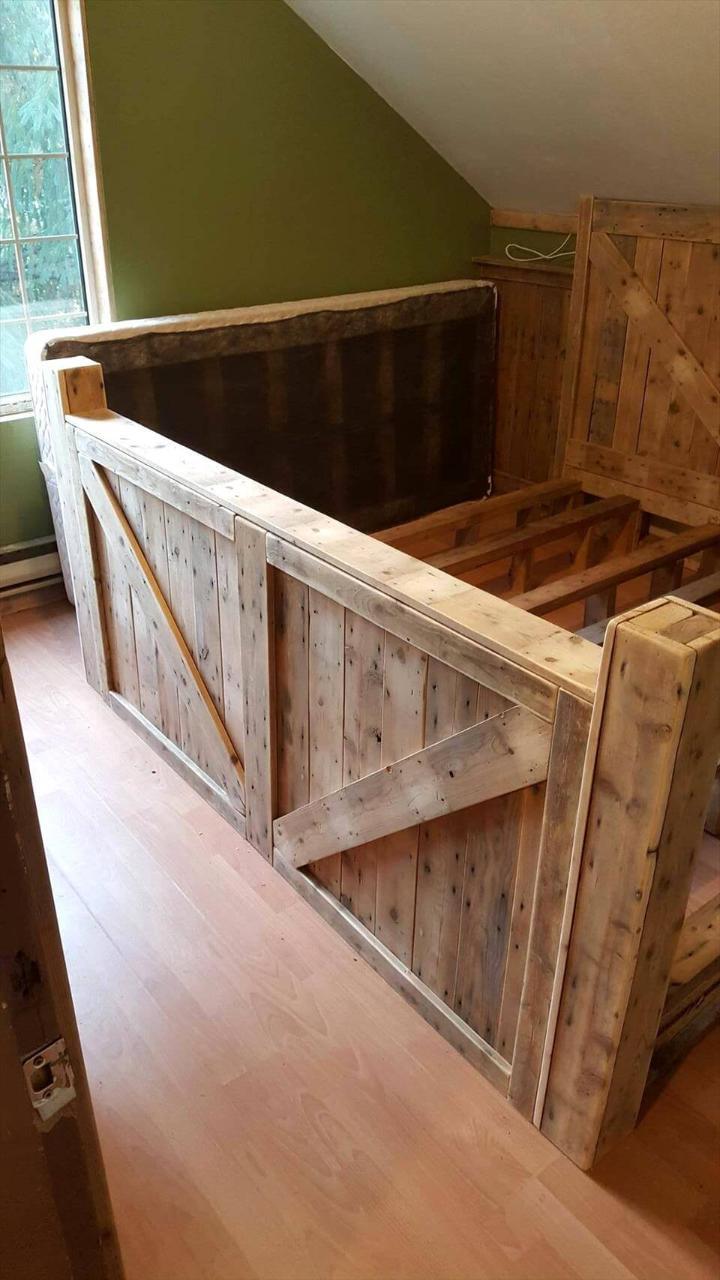 custom wooden pallet king bed frame