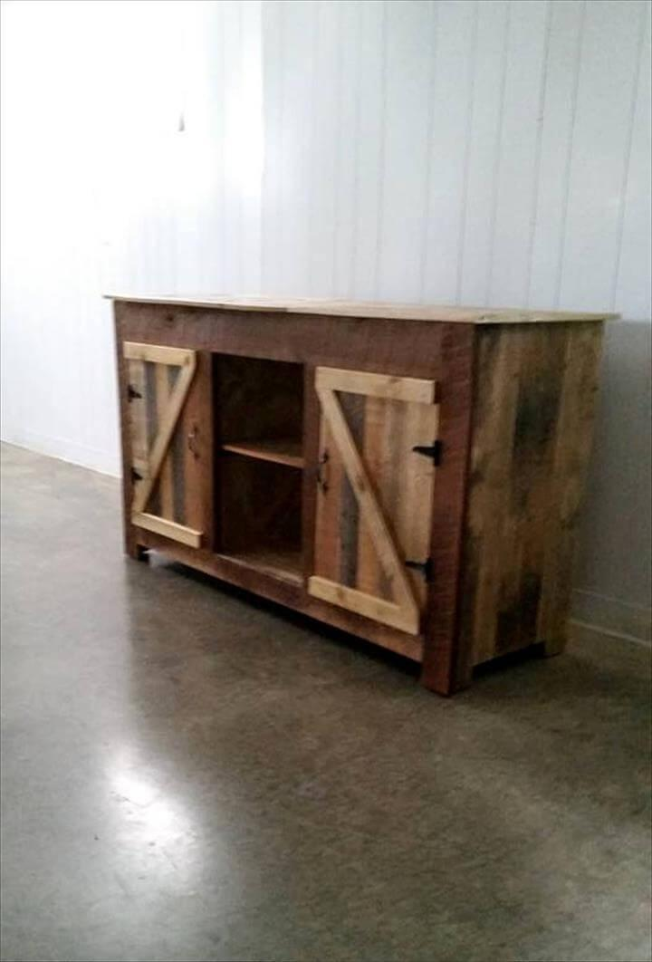 TV console or entertainment center made of pallets