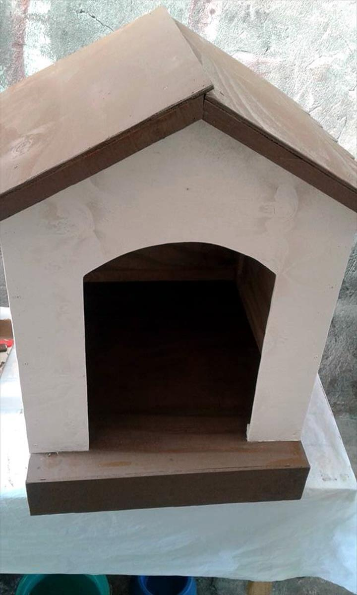hand-built wooden pallet dog house