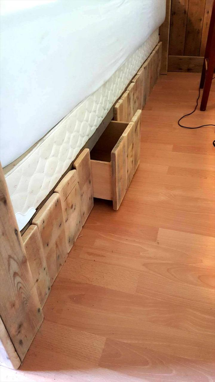 no-cost wooden pallet bed with built-in drawers