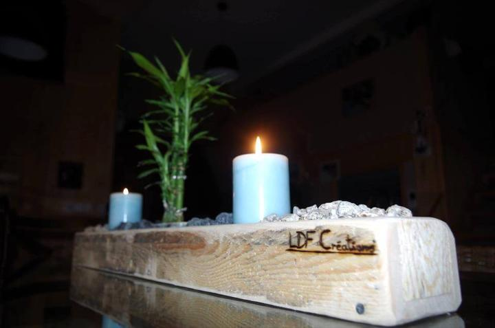 candle holder or centerpiece made of pallets