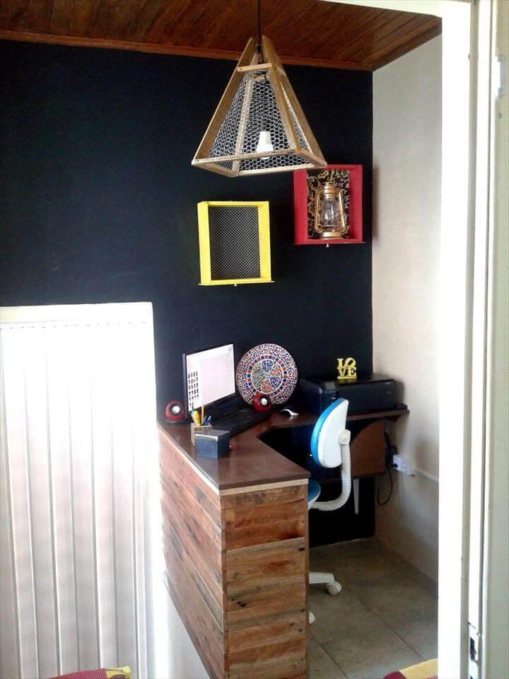 self-installed wooden pallet small home office