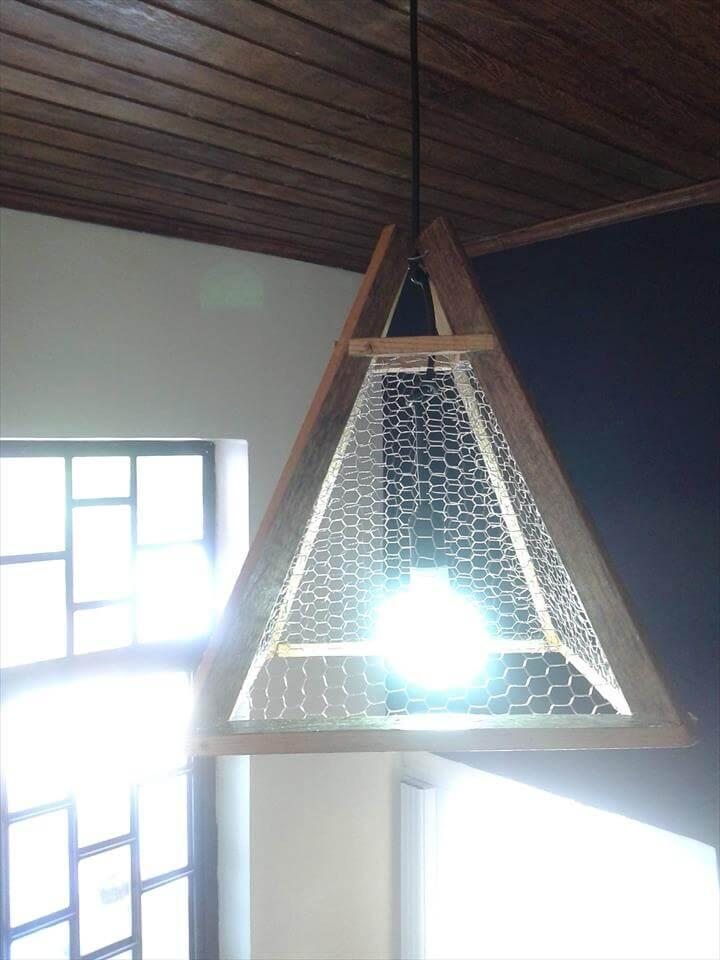 rustic wooden pallet pyramid style pendant lampshade