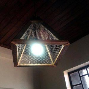 upcycled old pallet pendant lampshade
