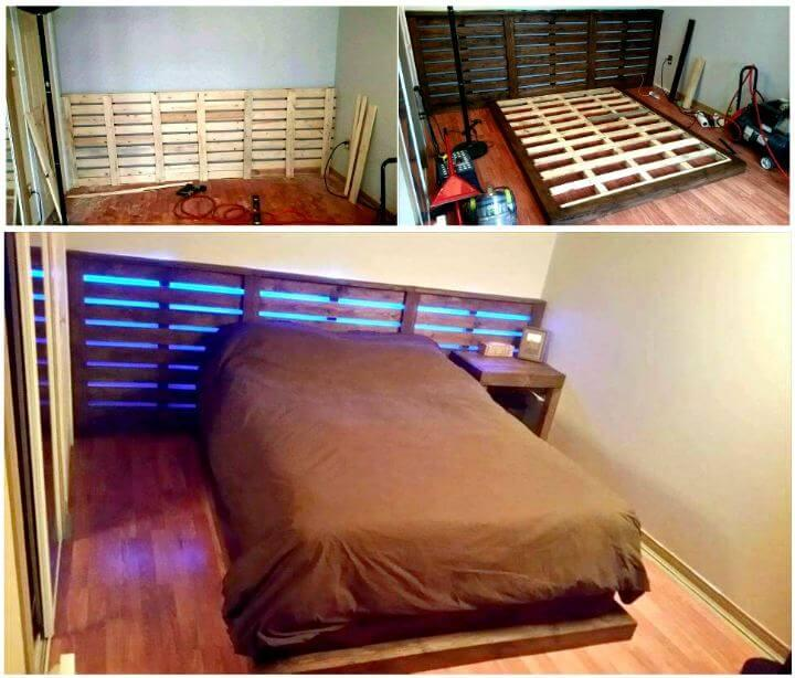 DIY platform pallet bed with lights and XL headboard - Pallet Furniture Ideas - Pallet Ideas - Pallet Projects