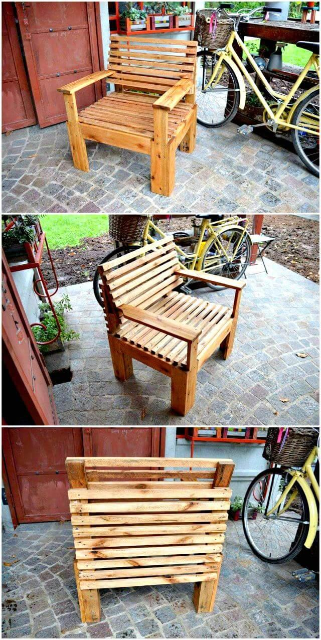 Easy Pallet Chair - Pallet Furniture Ideas - Pallet Ideas - Pallet Projects